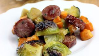 One Pan Sausage, Brussels Sprouts & Sweet Potato