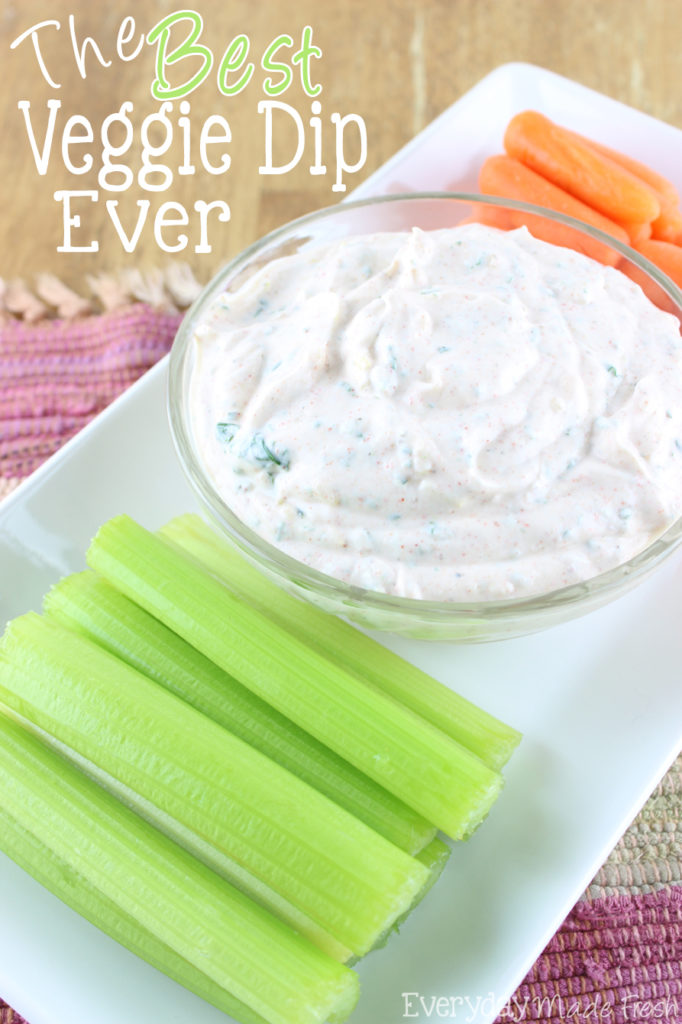 Looking for the perfect dip for that bag of carrots sticks or cut celery? I've got the answer for you with The Best Veggie Dip Ever! It's perfect for carrots, celery, strips of bell pepper, and even plain potato chips!   EverydayMadeFresh.com