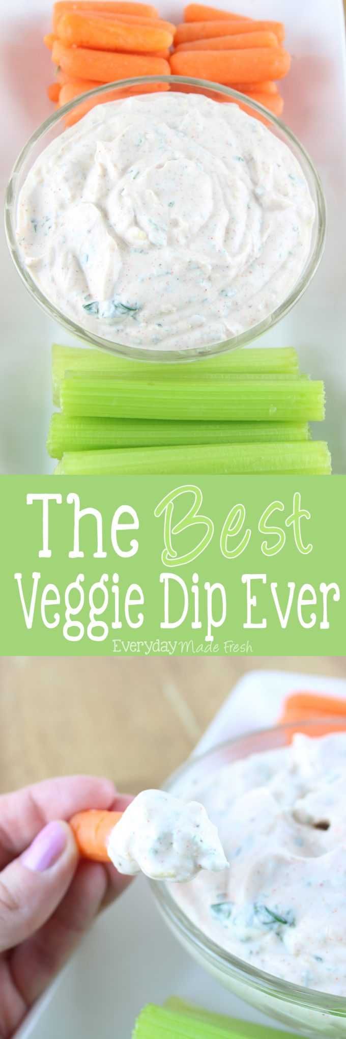 Looking for the perfect dip for that bag of carrots sticks or cut celery? I've got the answer for you with The Best Veggie Dip Ever! It's perfect for carrots, celery, strips of bell pepper, and even plain potato chips! | EverydayMadeFresh.com