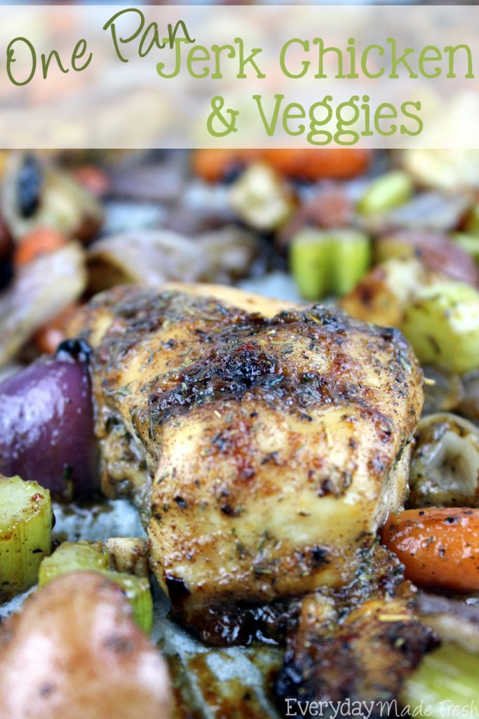 This One Pan Jerk Chicken & Veggies is an easy and healthy weeknight dinner. | EverydayMadeFresh.com
