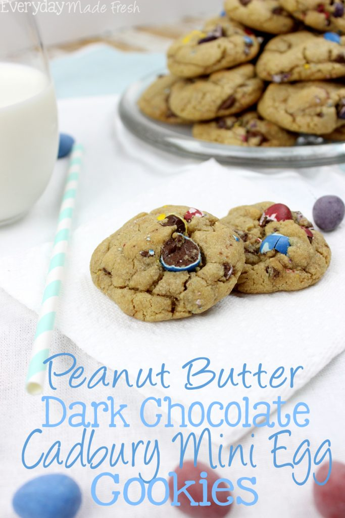 Peanut Butter Dark Chocolate Cadbury Mini Egg Cookies