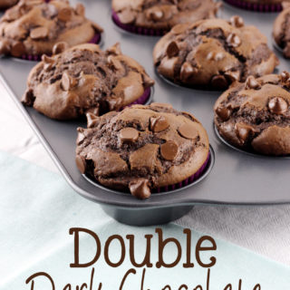 These Double Dark Chocolate Muffins are loaded with a rich dark chocolate flavor. You'll love the crumbly, moist texture, and find any reason to eat one! | EverydayMadeFresh.com
