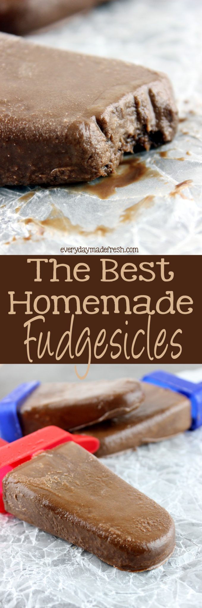 Chocolate fudgey goodness in the form of our summer favorite, popsicles! The Best Homemade Fudgesicles are made with 4 ingredients, and you will want to always have them in the freezer! | EverydayMadeFresh.com