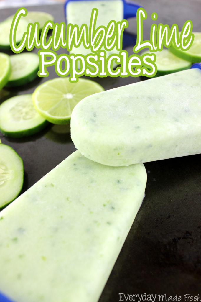 Summertime calls for refreshing popsicles, and nothing is more refreshing than these Cucumber Lime Popsicles! | EverydayMadeFresh.com