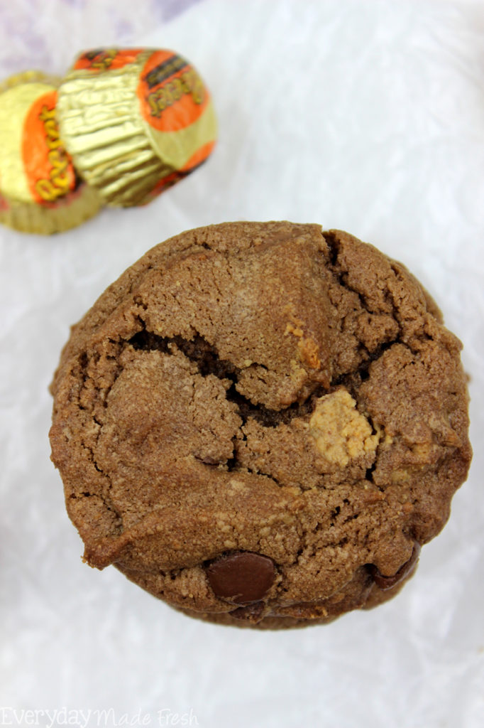 A chocolate chip cookie and a peanut butter cookie got married, and together they had these Double Chocolate Chip Peanut Butter Cup Cookies! It's a perfect match!| EverydayMadeFresh.com