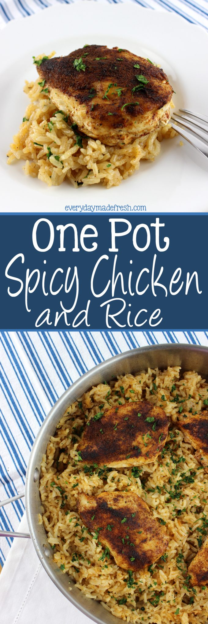 This One Pot Spicy Chicken and Rice is bursting with flavor! Ready in 30 minutes and using only one pot, you'll have dinner on the table in no time. | EverydayMadeFresh.com