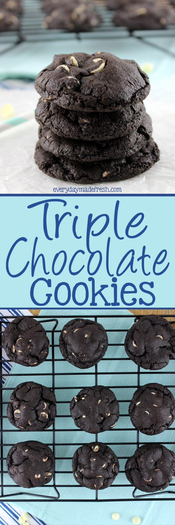 These Triple Chocolate Cookies aren't playing around. They are loaded with serious chocolate flavors, from dark chocolate, milk chocolate, and white chocolate!   EverydayMadeFresh.com