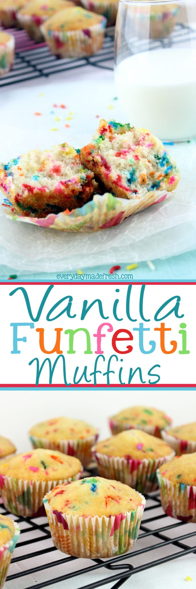 Start your morning with sprinkles! These Vanilla Funfetti Muffins are the funnest grab-and-go breakfast, and kids are gonna love them! | EverydayMadeFresh.com