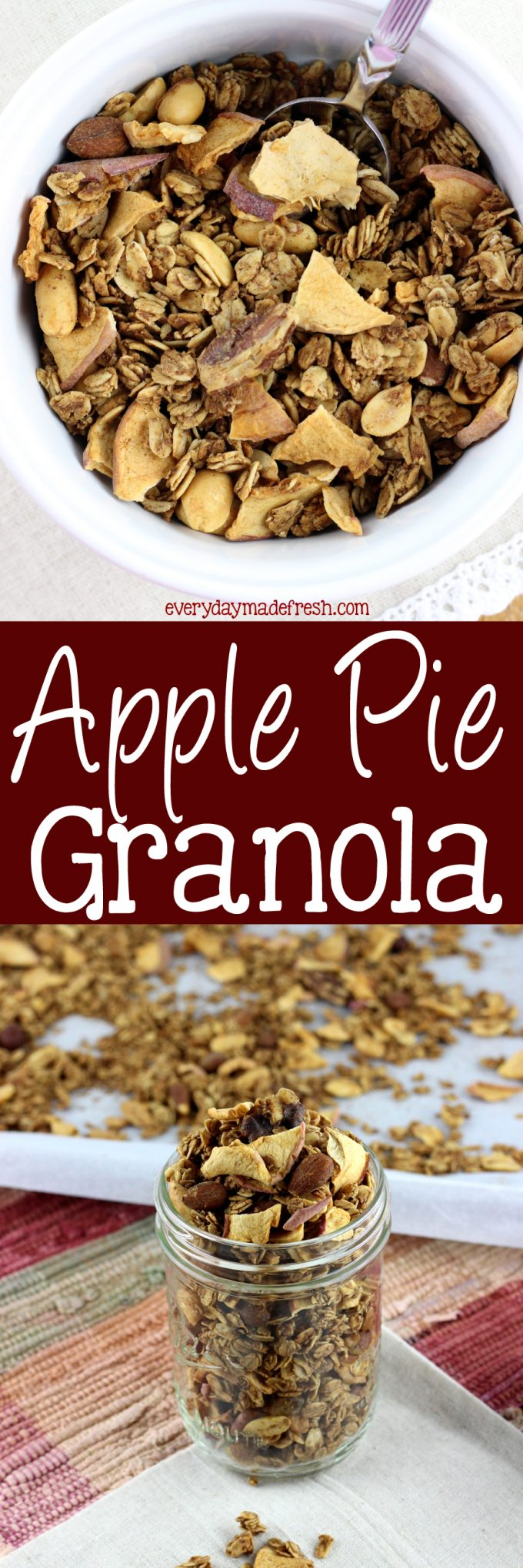 Enjoy all the flavors of apple pie in this easy to make Apple Pie Granola!   EverydayMadeFresh.com