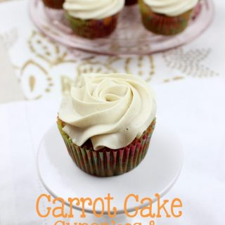 These Carrot Cake Cupcakes & Brown Sugar Cream Cheese Frosting are soft, moist, delicious, and will be a hit at your next celebration!   EverydayMadeFresh.com