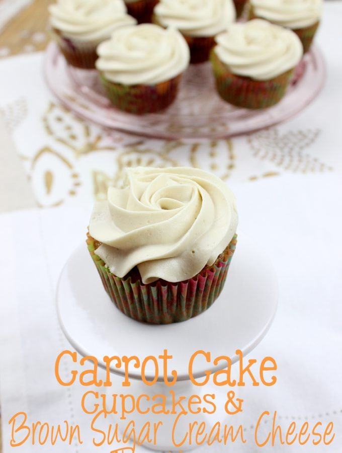 These Carrot Cake Cupcakes & Brown Sugar Cream Cheese Frosting are soft, moist, delicious, and will be a hit at your next celebration! | EverydayMadeFresh.com