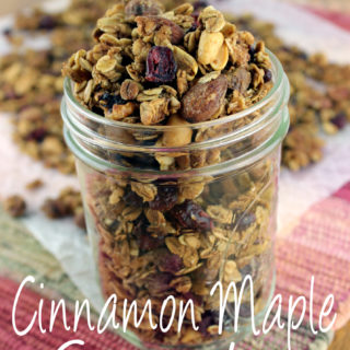This Cinnamon Maple Granola with Cranberries is a delicious and healthy alternative to store bought granola.| EverydayMadeFresh.com