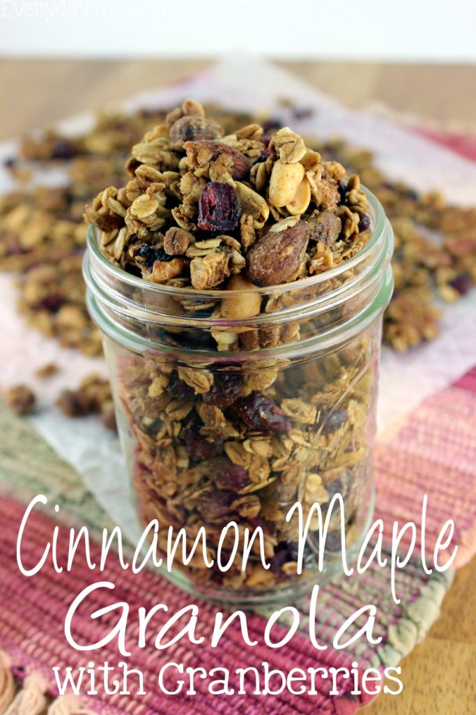 This Cinnamon Maple Granola with Cranberries is a delicious and healthy alternative to store bought granola. | EverydayMadeFresh.com