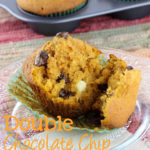 These Double Chocolate Chip Pumpkin Muffins are the best! This fall favorite is packed with spices and loaded with two types of chocolate chips! | EverydayMadeFresh.com