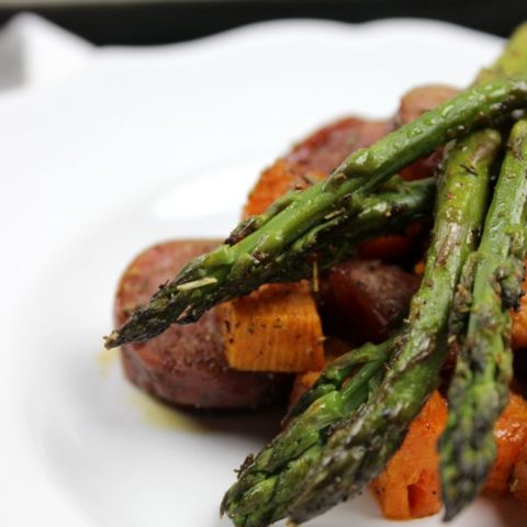 Sheet Pan Sausage, Asparagus, and Sweet Potato