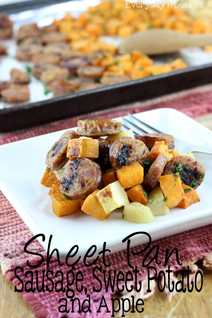 Sheet Pan Sausage, Sweet Potato, and Apple is a no fuss, quick dinner to enjoy any night of the week! All you need is a few simple ingredients. | EverydayMadeFresh.com