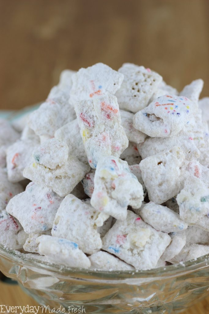 Vanilla Funfetti Puppy Chow is the ideal snack when you're craving something sweet and crunchy! | EverydayMadeFresh.com