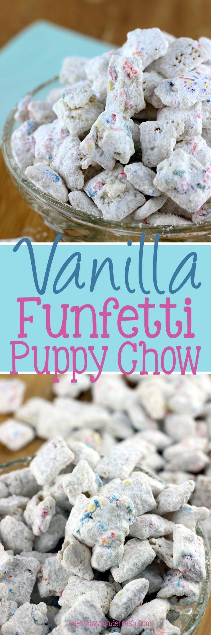 Vanilla Funfetti Puppy Chow is the ideal snack when you're craving something sweet and crunchy!| EverydayMadeFresh.com