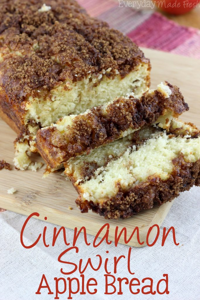 Fresh apples and a ribbon of cinnamon and brown sugar make this a tasty fall favorite. This Cinnamon Swirl Apple Bread is packed with flavor!   EverydayMadeFresh.com