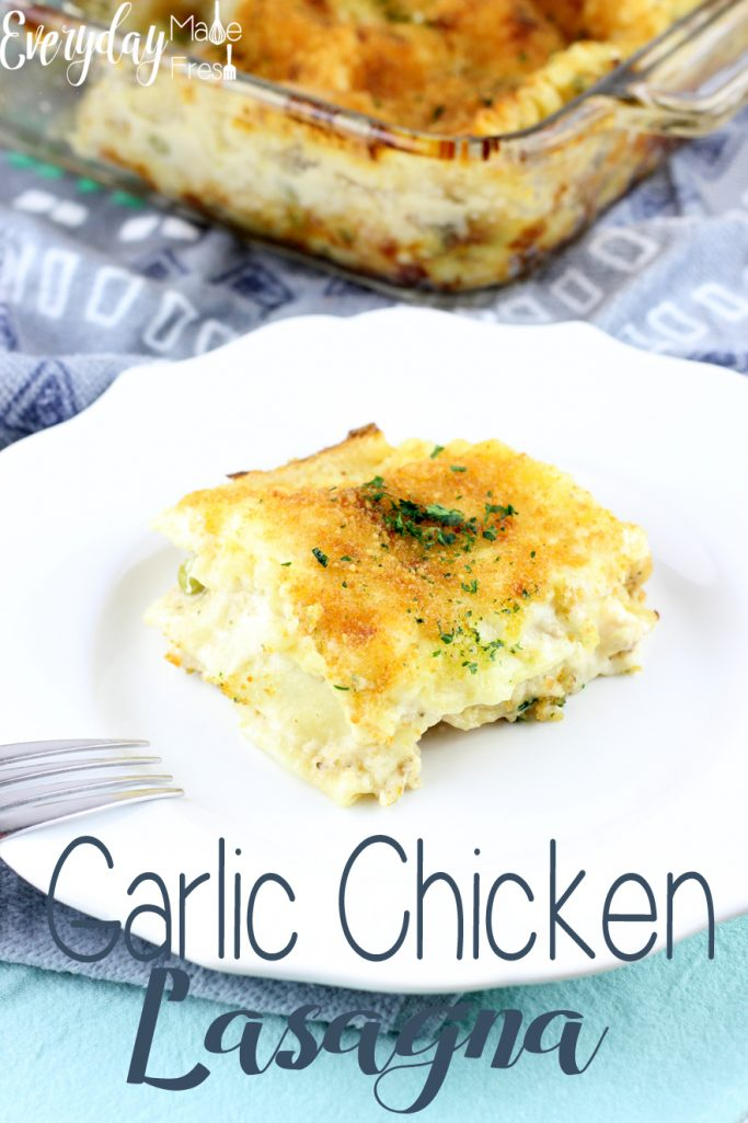 This Garlic Chicken Lasagna is easy to make, tastes great, and is the perfect comfort food. | EverydayMadeFresh.com
