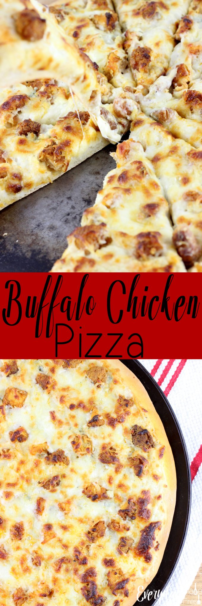 This Buffalo Chicken Pizza is simple and delicious! Enjoy one of your favorite pizzas at home, with this simple, no-rise crust.| EverydayMadeFresh.com