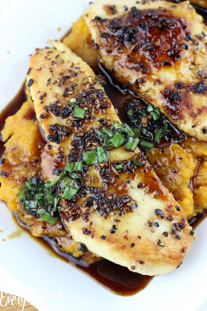 Maple-Glazed Chicken with Butternut Squash is a quick dinner recipe that has the flavors of  fall and winter. | EverydayMadeFresh.com