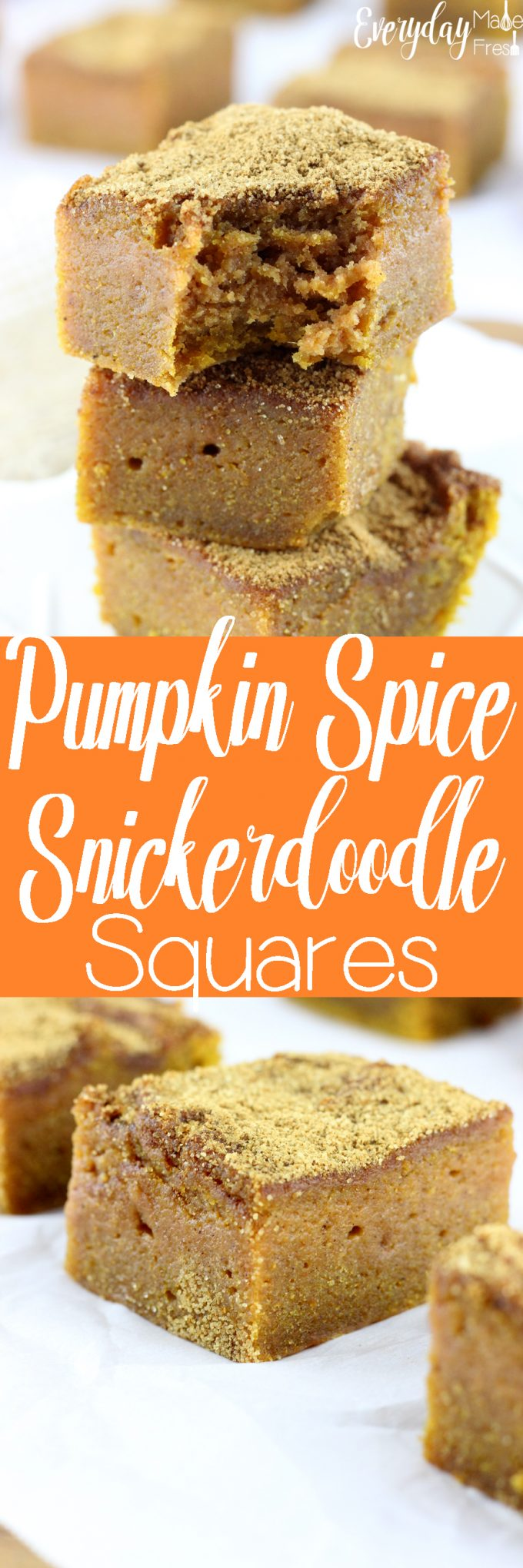 Soft and super moist, full of pumpkin spice flavor, and perfectly topped with a mixture of cinnamon and sugar goodness; these Pumpkin Spice Snickerdoodle Squares are pretty much perfection in a pan.   EverydayMadeFresh.com