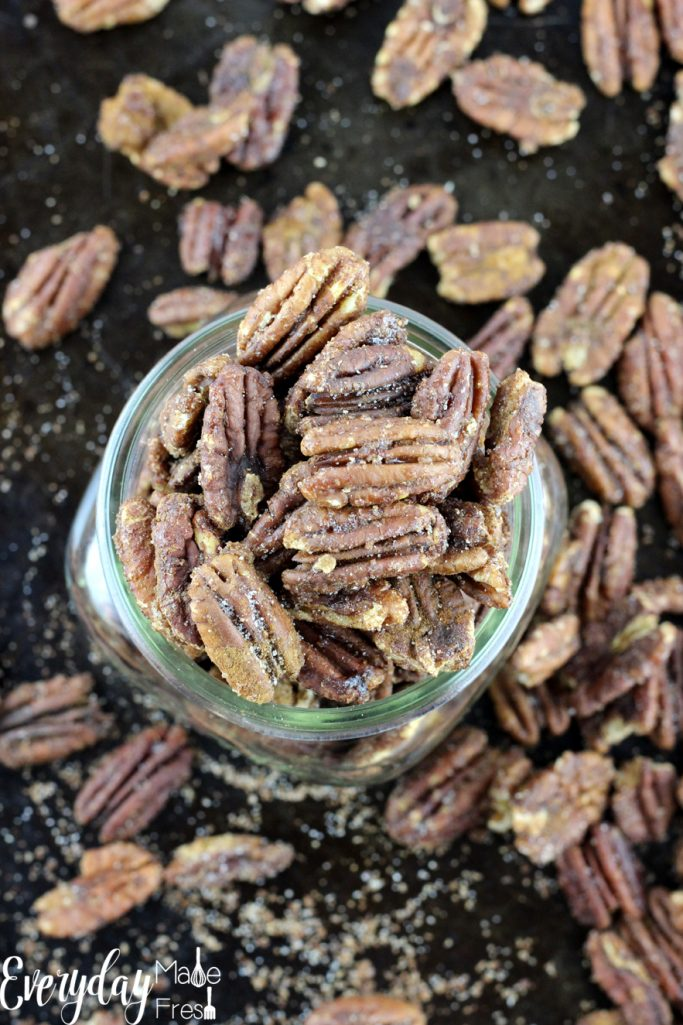 Spiced Candied Pecansare simple to make with just the right amount sweet, and not too spicy. They make the perfect snack or homemade gift! | EverydayMadeFresh.com