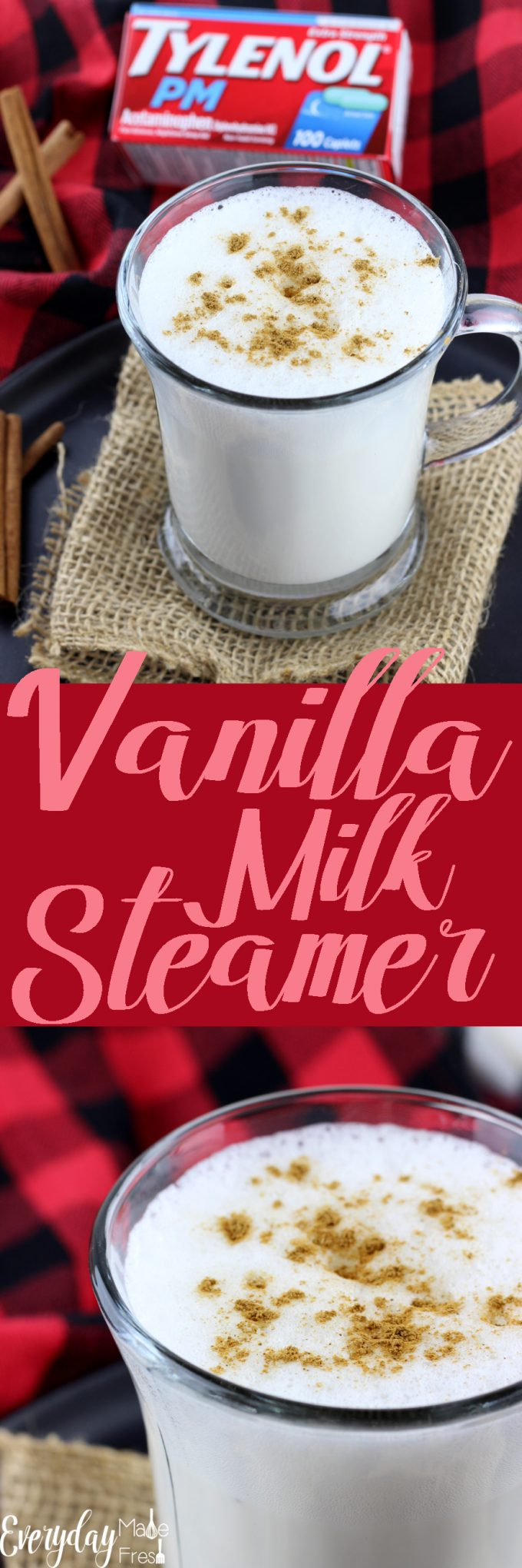 # ad A Vanilla Milk Steamer is the perfect little drink to enjoy before bedtime. A dash of sugar, a splash of vanilla, and a sprinkle of cinnamon make this simple and tasty. Learn more about TYLENOL® PM at Walgreens on the blog! #ForBetterTomorrows #BetterTomorrows #FallBack   EverydayMadeFresh.com