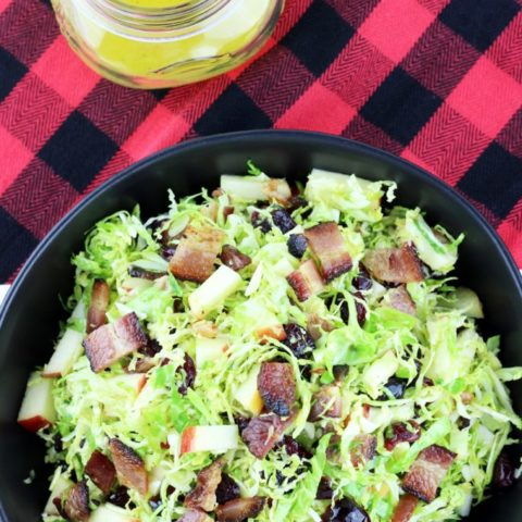 Brussels Sprouts Salad with Apple, Bacon, Cranberries & a Citrus Dressing