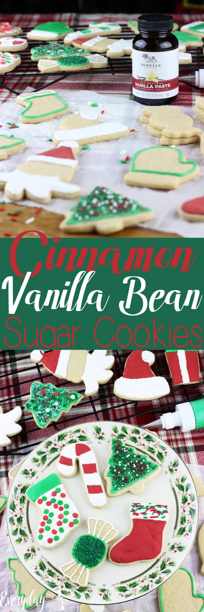 A dash of cinnamon and vanilla bean paste make these Cinnamon Vanilla Bean Sugar Cookies perfect. Well that, and that this a no chill sugar cookie dough! | EverydayMadeFresh.com