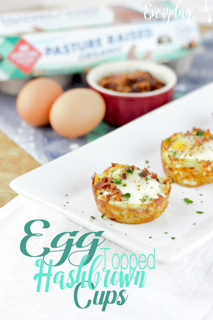 When your short on time these Egg Topped Hashbrown Cups are the perfect go-to breakfast. Crispy and cheesy hashbrowns on the bottom, topped with a perfectly cooked egg, baked in the oven, you'll not only save time, but also clean-up. #hellohandsome #pastureraised #handsomebrookfarm | EverydayMadeFresh.com