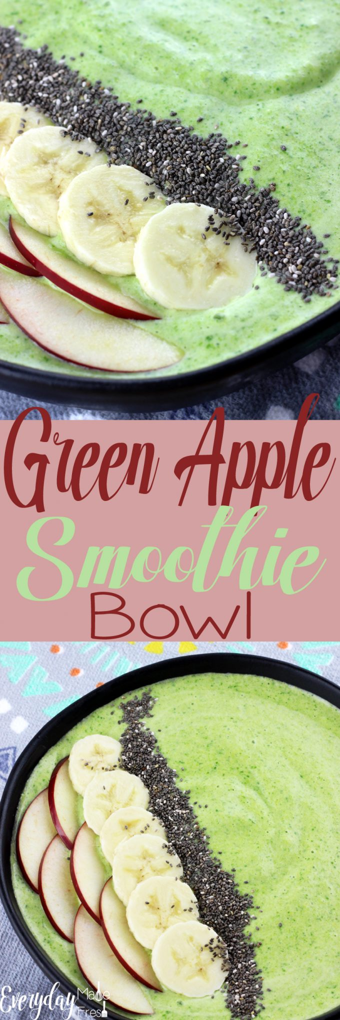 Smoothie bowls are all the rage! They are simple to make, fun to eat, and healthy. In this Green Apple Smoothie Bowl you can't taste the greens which means it's kid pleasing!   EverydayMadeFresh.com