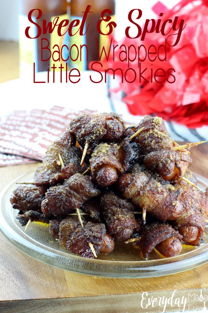 Sweet & Spicy Bacon Wrapped Little Smokies hit all the right taste buds! They are so good you can't stop eating them...Perfect for game day or a party snack!   EverydayMadeFresh.com
