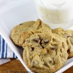 These Gluten Free Peanut Butter Cookies with Chocolate chips are sweetened with maple syrup, and made using only 6 ingredients!   EverydayMadeFresh.com