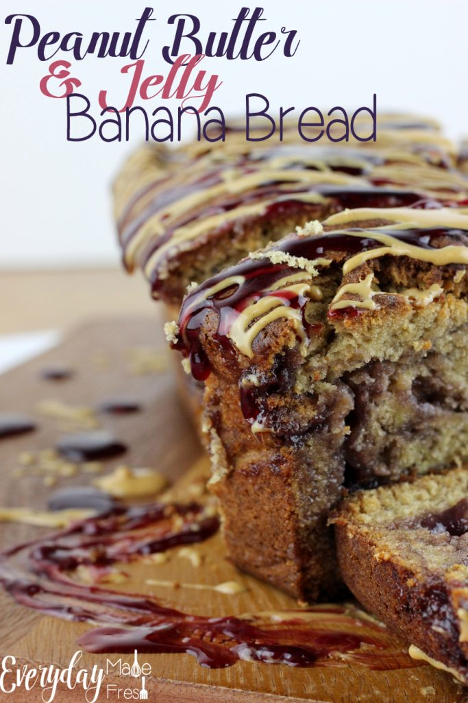 A classic childhood favorite with a new twist; this Peanut Butter & Jelly Banana Bread is going to quickly become your favorite! | EverydayMadeFresh.com
