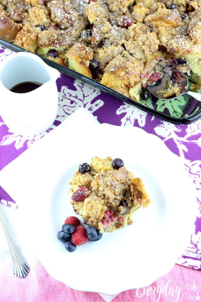 This make ahead Very Berry French Toast Casserole combines raspberries and blueberries for the ultimate burst of flavor.  | EverydayMadeFresh.com