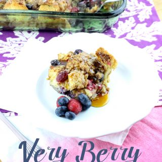 This make ahead Very Berry French Toast Casserole combines raspberries and blueberries for the ultimate burst of flavor.   EverydayMadeFresh.com