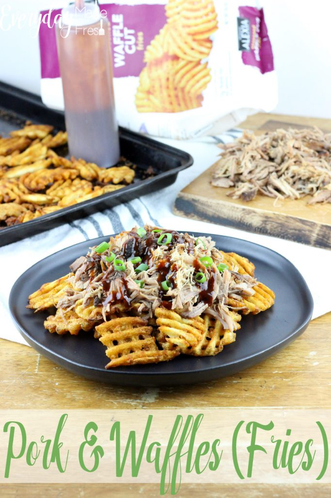 Pork & Waffles is our take on the world famous BBQ Butt Fries.  Waffle fries are the perfect vessel for slow cooked pulled pork, drizzled in BBQ sauce, and topped with fresh scallions. | EverydayMadeFresh.com