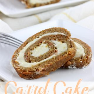 Sweetened cream cheese fills this ever so simple to make Carrot Cake Roll! | EverydayMadeFresh.com