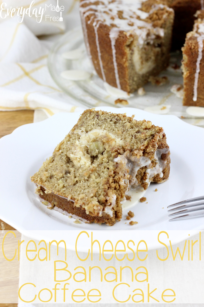 This moist Cream Cheese Swirl Banana Coffee Cake is the perfect way to use up those over ripe bananas. It's topped with a buttery streusel and drizzled with very vanilla drizzle.  | EverydayMadeFresh.com