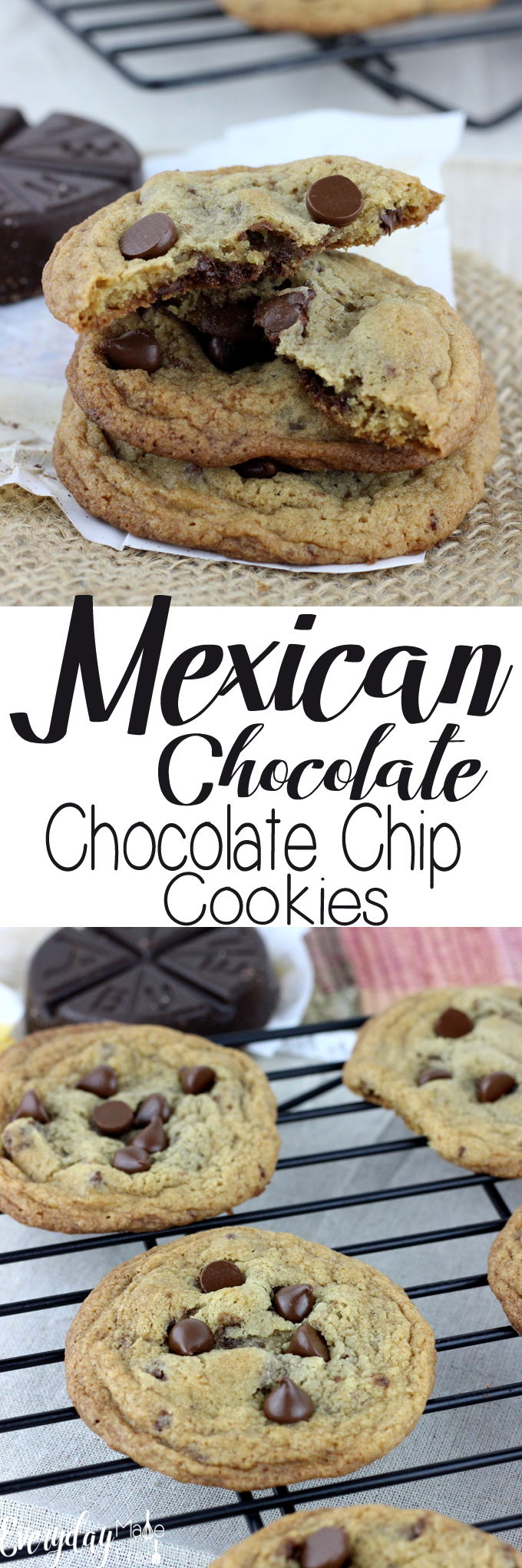 These Mexican Chocolate Chocolate Chip Cookies are the perfect blend of sweet and spicy.  You'll love the crispy edges and chewy centers. | EverydayMadeFresh.com
