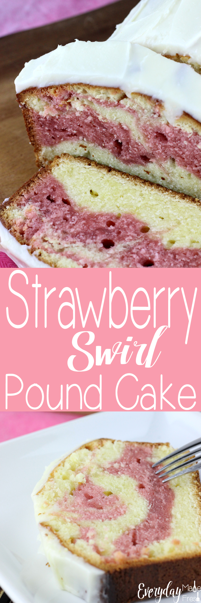 This Strawberry Swirl Pound Cake is so easy to make from scratch, and it topped with a delicious cream cheese frosting.  | EverydayMadeFresh.com