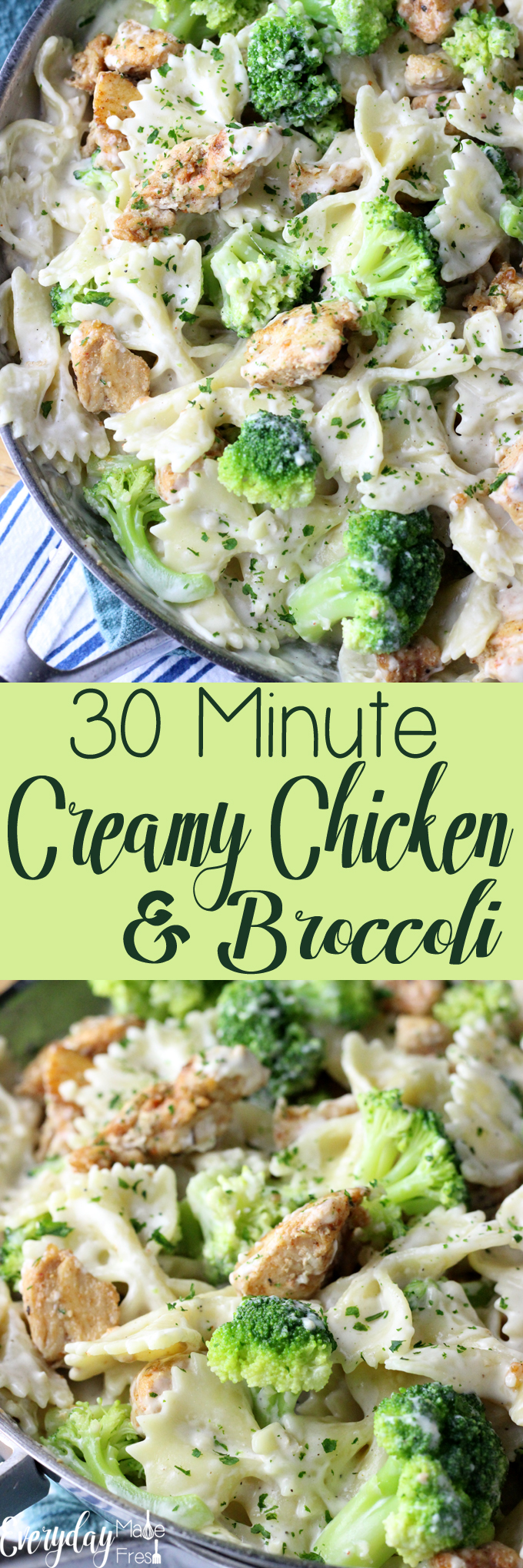A mozzarella sauce makes this 30 Minute Creamy Chicken & Broccoli a family pleasing weeknight dinner favorite! | EverydayMadeFresh.com