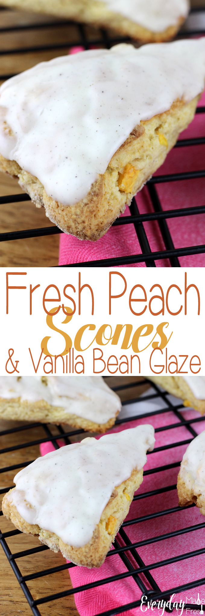 Nothing says summer like fresh peaches - and these Fresh Peach Scones & Vanilla Bean Glaze are the perfect summer breakfast or sweet treat! | EverydayMadeFresh.com