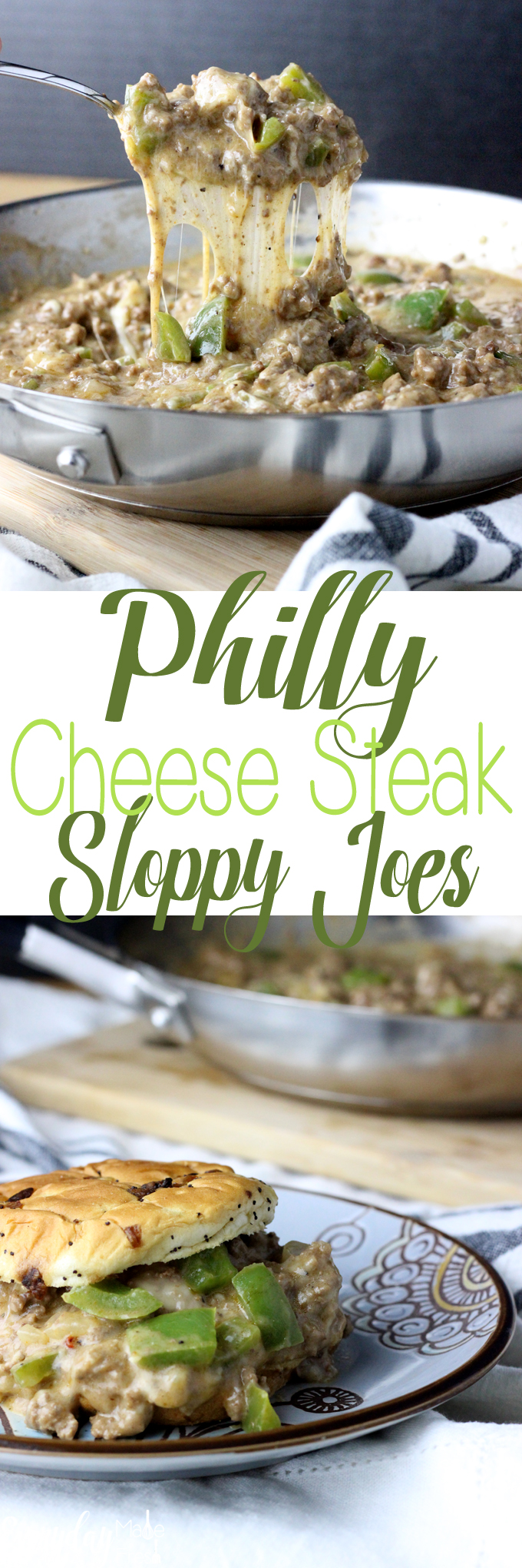 Philly Cheese Steak and Sloppy Joes come together in this one pan dish to create your next family favorite, Philly Cheese Steak Sloppy Joes! | EverydayMadeFresh.com
