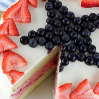 4th of July Strawberry Ice Cream Cake