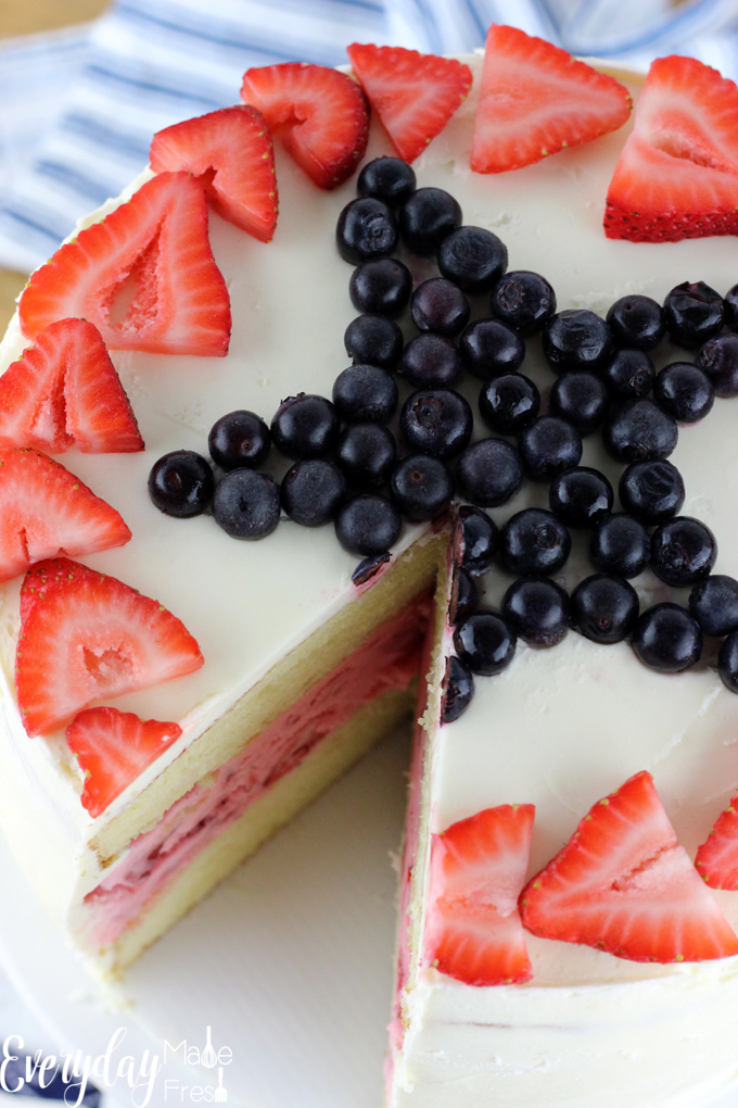 Completely homemade, very simple, and totally beautiful, this 4th of July Strawberry Ice Cream Cake is creamy, dreamy, and perfect!   EverydayMadeFresh.com