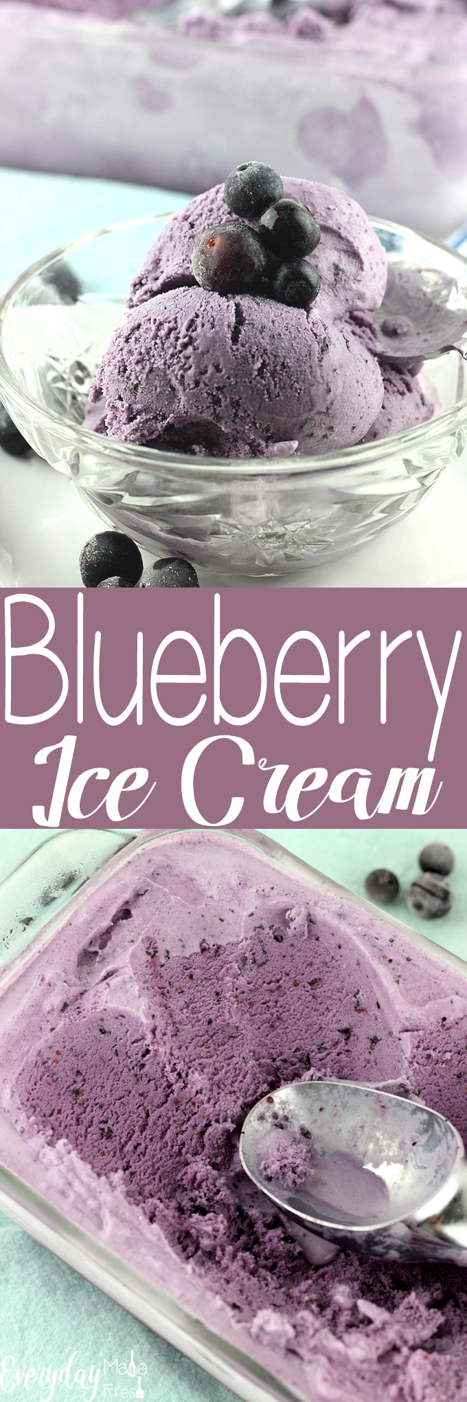 This Blueberry Ice Cream is made with fresh blueberries, and is perfectly rich and creamy. It's a great way to cool off this summer. | EverydayMadeFresh.com