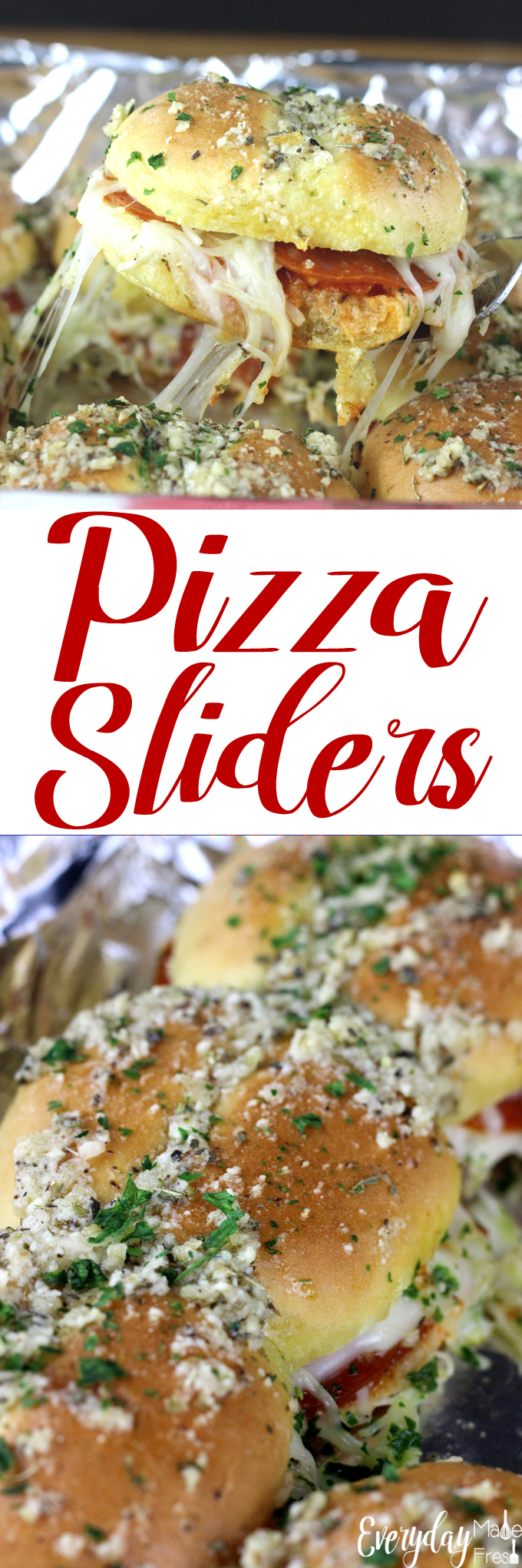 Sliders are popular for all sorts of reasons, and their small size make them fun for parties, get together, and holidays.  These Pizza Sliders are cheesy and totally customizable, and loved by all! | EverydayMadeFresh.com